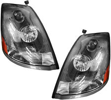Headlight Headlamps Headlights Black NEW Pair Set for 04-15 Volvo VNL VNM Truck
