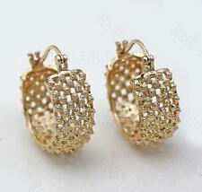 18K Gold Filled Earrings Luxury Hollow Round Stud Hoop Bohemia Clip-On Ball DS