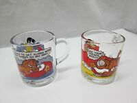Lot of 2 Vintage McDonalds Garfield Odie Glasses Mugs Jim Davis 1978 (G)