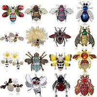 Wholesale Insect Cartoon Bee Animals Pearl Crystal Enamel Brooch Pin Jewellery