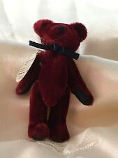 """Vintage Boyds Bears 3"""" Tf Wuzzies Jointed Burgundy Bear with navy bow"""