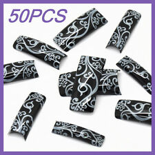 50pcs Black White Leaf French False Nail Tips FN0013+1 Free Glue