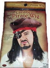Men's Black Caribbean Pirate Costume Wig & Bandana Fancy Dress