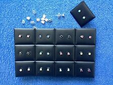 JOBLOT - 24 of 0.4 cm mix colours rhinestone stud earrings.Silver plated.