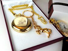 GYPSY Romany 24k GOLD Clad Pocket Watch Horse Keyring Traveller Luxury Gift Set