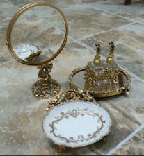9 Pc. Vtg Matson Goldplate Ormolu Vanity Set;Tall Mirror,Tray,Perfume,Soap Dish
