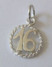 GENUINE SOLID 925 STERLING SILVER 16 TH BIRTHDAY CHARM PENDANT