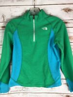 North Face Half Zip Shirt Youth L Fleece Green Blue Sweatshirt Pullover S1