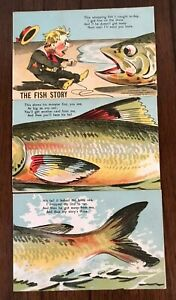 THE FISH STORY ~Three 3 Postcards~Installment Puzzle Set-Vintage 1906---s265