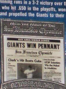 SF Giants 1989 WIN PENNANT San Francisco Chronicle PIN Will Clark