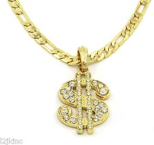 """Money Sign Charm Gold Plated Piece Pendant 24"""" Figaro Chain Necklace Jewelry"""