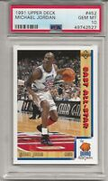 1991 UPPER DECK #452 MICHAEL JORDAN, PSA 10 GEM MINT, HOF, CHICAGO BULLS, L@@K
