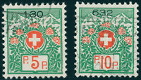 SCHWEIZ 1927, Portofreiheit, MiNr. 11-12 I x, Plattenfehler III, Mi. 60,-