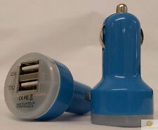 BLUE Universal Dual USB Cable Car Cigarette Lighter Charger Adapter 2 Double New