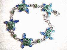 Stunning Blue & Green Enamel Multiple Turtle Chain Bracelet W/Green Rhinestones