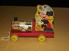VINTAGE  CHILD  TOY WALT DISNEY FISHER PRICE MICKEY MOUSE WOOD CHOO CHOO NO. 485