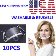 10Pcs Transparent Plastic Anti-Fog Mouth Shield(Color: White)