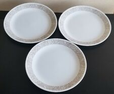 Lot of 3 Corelle Woodland Brown 10 1/4 in. Dinner Plates White Flowers Leaves