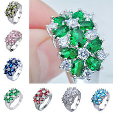Women's Colorful Sapphire Wedding Ring 10KT White Gold Filled Jewelry Size 5-10