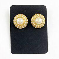 Gold Tone ROMAN Signed Post Earrings Faux Pearl Clear Rhinestone Pierced