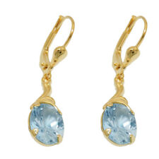 333 Echt Gelbgold Brisuren Ohrringe Ohrhänger Creolen Damen Aquamarin blau Lange