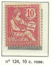 Timbre Y&T n°124, 10c rose, type Mouchon retouché