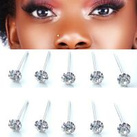 x10 ROUND STERLING SILVER 925 CZ CLEAR GEM CLAWSET STRAIGHT PIN NOSE STUDS