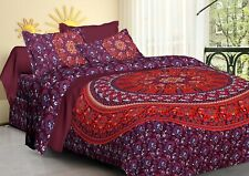 Cotton Printed Queen Size Bohemian Mandala Tapestry Bedsheet and 2 Pillow Covers