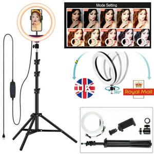 26cm LED Ring Light Dimmable Lighting Kit+Tripod Stand Shutter Selfie Lamp Live