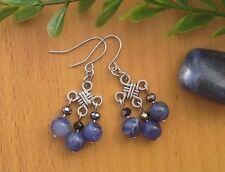 Blue SODALITE JASPER Gemstone On Chinese Lucky Knot Dangle Earrings ~ Feng Shui