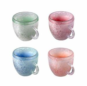 Heart Shape Double Wall Gel Frosty Freezer Mugs Ice Cup Set of 4 Colors