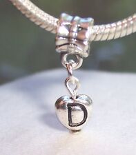 Letter D Heart Alphabet Initial Dangle Bead for Silver European Charm Bracelet