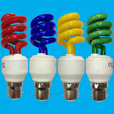 4x 15W Coloured Low Energy CFL Spiral Party Light Bulbs, Bayonet, BC, B22 Lamps