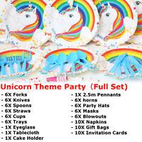 Unicorn Theme Party Supplies Wedding Kids Birthday Baby Shower Tableware