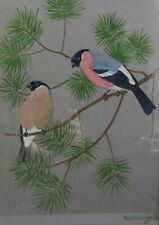 Original Framed Watercolour 'Bullfinches' by Scottish Artist Ralston Gudgeon RSW