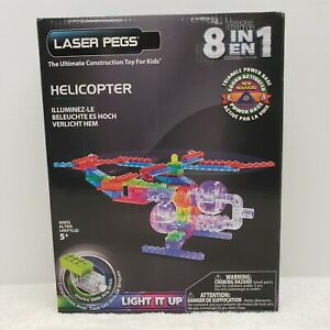 Laser Pegs 8-in-1 Helicopter Toy lighted Construction Set, light-up, STEM