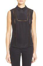 NWT $375 VERONICA BEARD Aster Collar Bib  Silk Blouse Black Size 2