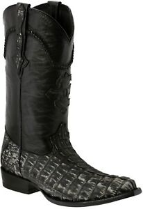 Mens Gray All Real Crocodile Tail Exotic Skin Leather Cowboy Boots Pointed