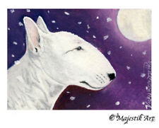 "English Bull Terrier Dog Original ACEO ATC ""Moonlit snow"" By V Kenworthy"