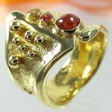 B148 Unikat Ring 925 Silber Schmuck Gold verg. Saphir Granat Steine Handarbeit