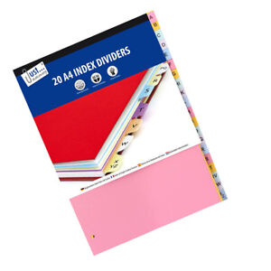 A-Z File index 20, A4 Part File Subject Dividers Universally Punched Strong New