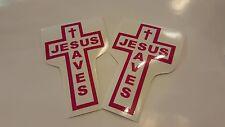 "Jesus Saves Cross Stickers Pink White  3.25"" x 5.25"" Set of 2"