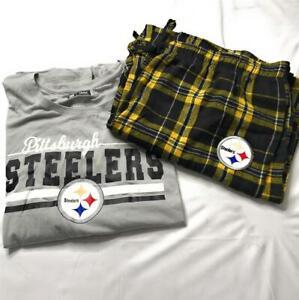 NFL Women's Pittsburgh Steelers Flannel Pajama Sleepwear Set, Multicolor, Sz 2XL