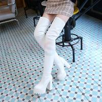 Wasserdicht Schwarz/Weiß Overknee Stiefel Weiblich Schuhe Neu Mit Hohen Absätzen