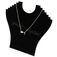 Necklace Bust Jewelry Pendant Chain Display Holder Stand Neck Velvet Easel Black