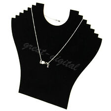 Black Necklace Bust Jewelry Pendant Chain Display Holder Stand Neck Velvet Easel
