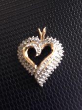 ESTATE 10K Yellow Gold Fancy Round Diamond Heart Pendant Charm