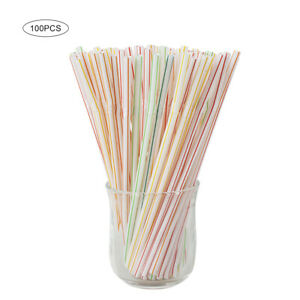 100Pcs/pack Disposable Plastic Straws Party Beverage Home Straws for Kids AduldZ