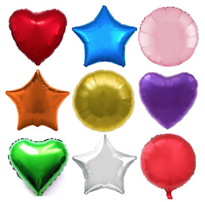 """18"""" Heart Star Round Solid Colour Foil Helium Balloon Birthday Wedding Party"""