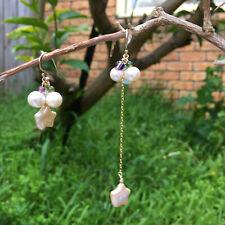 AD71 Asymmetrical Freshwater pearl w/Amethyst Aquamarine and Tourmaline earring